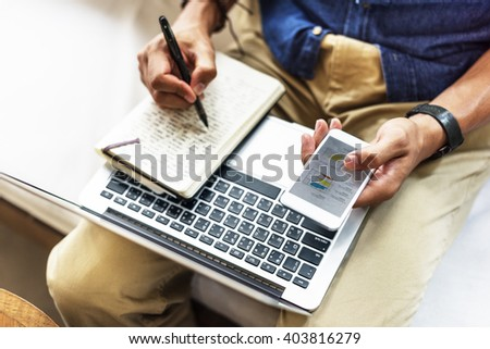 Businessman Using Laptop Working Thinking Concept - stock photo