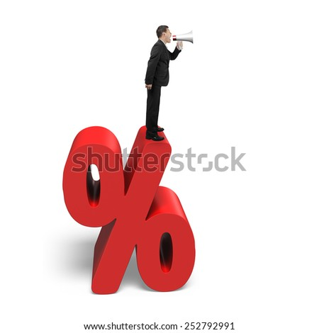 Businessman using megaphone yelling on red percentage sign with white background - stock photo