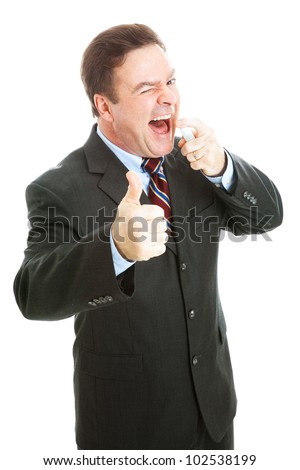 Businessman using mint breath spray and giving thumbs up sign.  Isolated on white. - stock photo