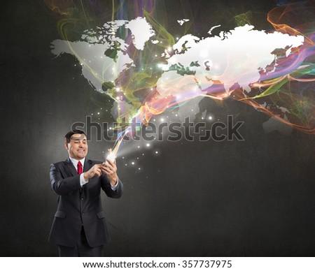 Businessman using mobile application - stock photo