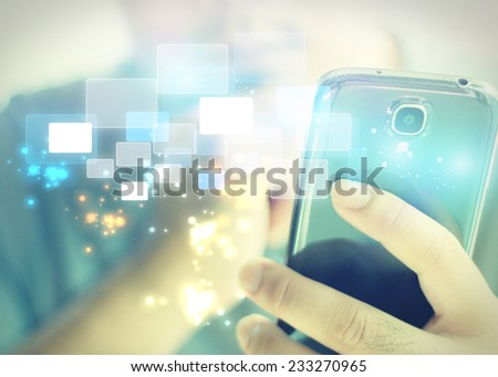 Businessman using mobile smart phone.  - stock photo