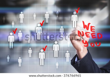 businessman using modern computer and drawing on virtual screen. Recruitment. team building. business, technology and internet concept.