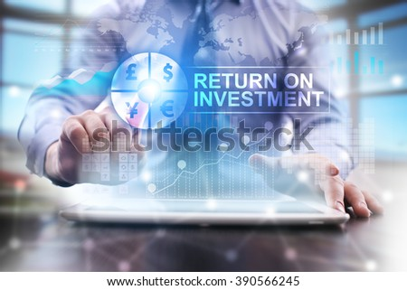 businessman using modern tablet computer. return on investment concept. business technology and internet concept. - stock photo