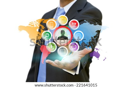 Businessman using multimedia interface with his fingers