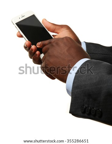 Businessman using smart phone, isolated on white - stock photo
