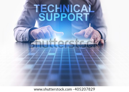 Businessman using tablet pc and select technical support. - stock photo