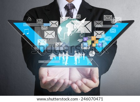 Businessman using tablet social connection,conceptual image of social connection