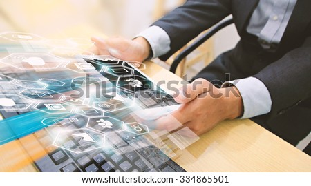 Businessman using tablet,Social media concept.  - stock photo