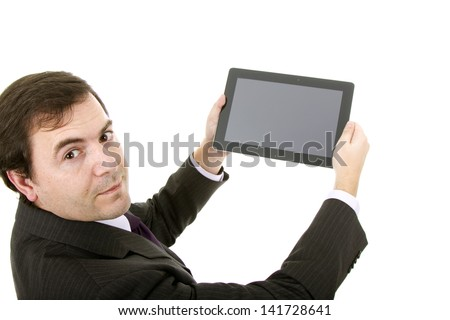Businessman using tablet while standing white background