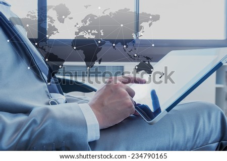 Businessman using tablet with social media technology, business concept - stock photo