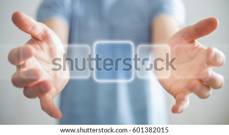Businessman using tactile interface web address bar to surf on internet 3D rendering