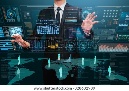 businessman using technology interface - stock photo