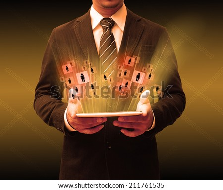 businessman using touch pad - stock photo