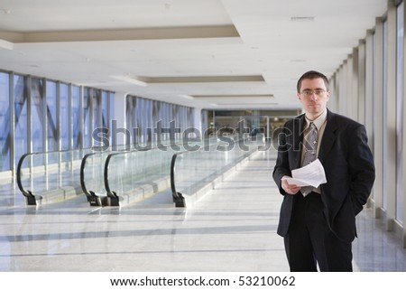 Businessman waiting at some modern building