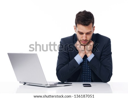 Businessman waiting for an important call - stock photo