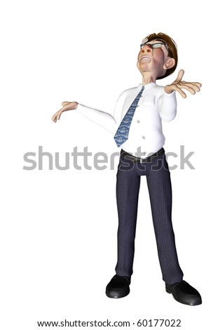 Businessman waiting from heaven - stock photo