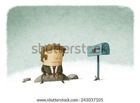 businessman waiting mail - stock photo