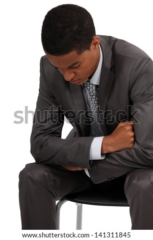 Businessman waiting patiently - stock photo