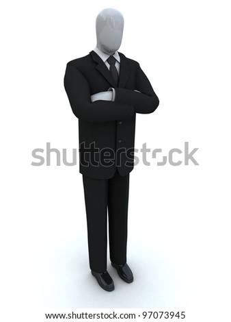 businessman waits, having combined hands - stock photo