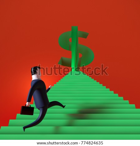 businessman walk up the green stair to dollar symbol gate way.  3d rendering illustration.