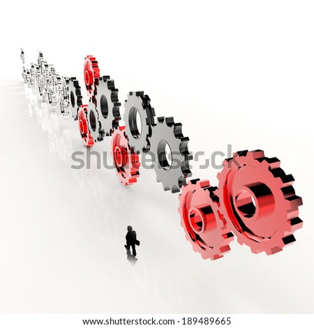businessman walking along with 3d  cog gear to success as concept