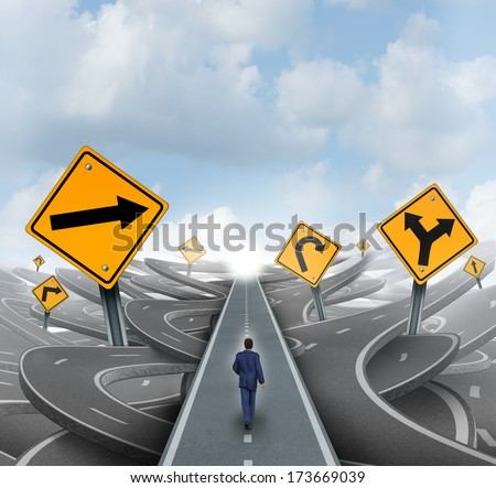 Businessman walking around confusion and chaos on a straight easy path and journey to success as a business metaphor for leadership solution to financial challenges. - stock photo