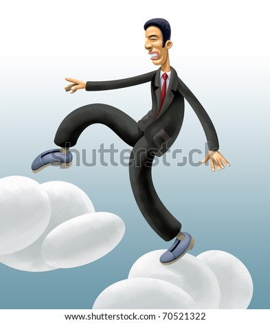 Businessman walking Clouds. Cautiously climbing up into the Sky - stock photo