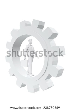 Businessman walking in a gear - stock photo