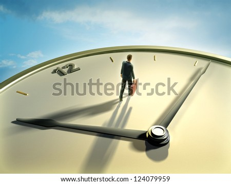Businessman walking on a clock face. Digital illustration. - stock photo
