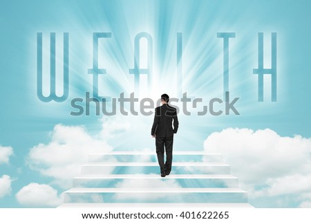 Businessman walking on a stairway to WEALTH in the sky - stock photo