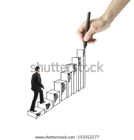 businessman walking on drawing ladder