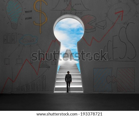 Businessman walking on stairs with through key shape door and business doodles on wall - stock photo