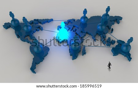 businessman walking to social network human 3d on world map as concept  - stock photo