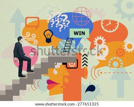 Businessman walking to win - stock photo