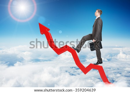 Businessman walking up arrow - stock photo