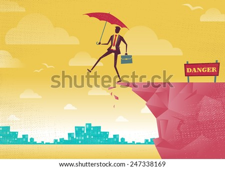 Businessman walks off a cliff. Great illustration of Retro styled Businessman walking off the cliffs or maybe its a leap of faith. - stock photo