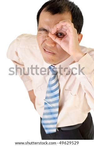 Businessman watching gesture with funny expression on white background. - stock photo