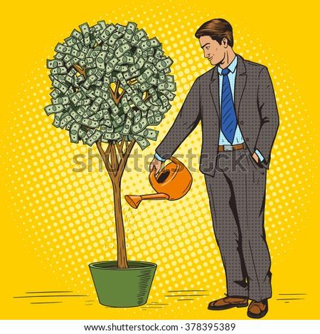 Businessman water money tree pop art style raster illustration. Human illustration. Comic book style imitation. Vintage retro style. Conceptual illustration - stock photo