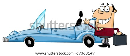 Businessman Waving Next To Convertible Car