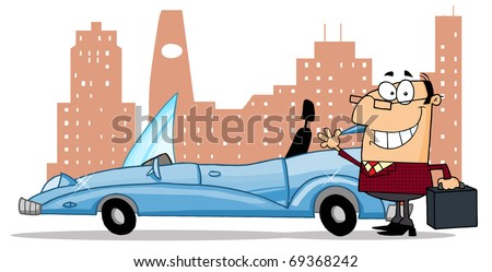 Businessman Waving Next To Convertible Car In Front Of Downtown