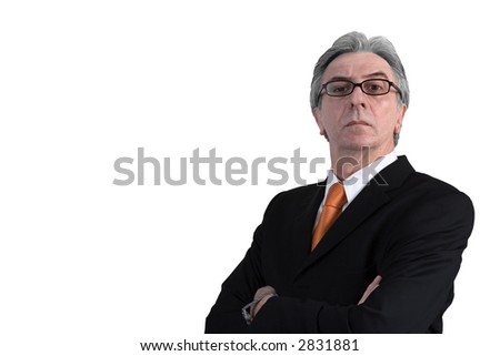 Businessman wearing a black suit and an orange neck tie. - stock photo