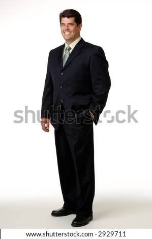 Businessman wearing a black suit and photographed on a white background. - stock photo