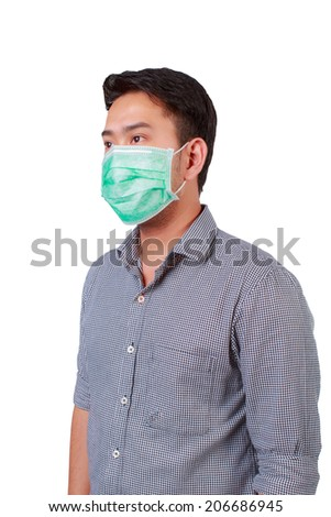 businessman wearing a face mask protect infected - stock photo