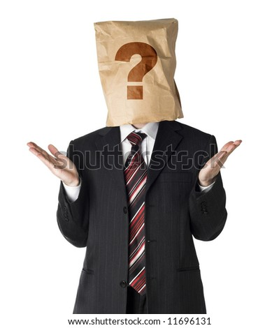 businessman wearing  a paper bag on his had - stock photo