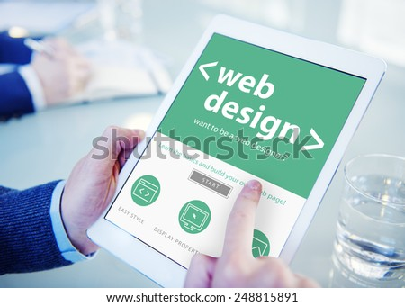 Businessman Web Design Digital Devices Searching Concept - stock photo