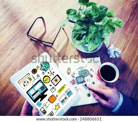 Businessman Web Design Digital Devices Working Concept - stock photo