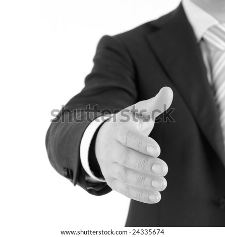 Businessman welcomes you. Isolated on white.
