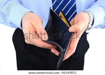 Businessman well-dressed with empty wallet isolated over white - stock photo