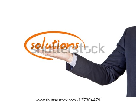businessman who offers solutions for companies - stock photo