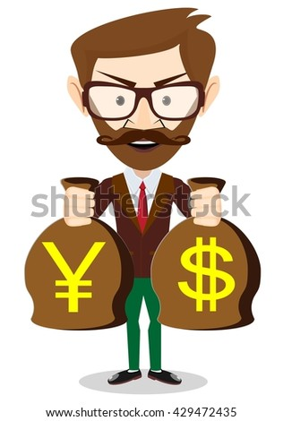 Businessman with a bag full of money. Isolated on white background. Stock illustration - stock photo